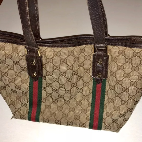 7628a4a65d9 Gucci Handbags - Authentic GUCCI Purse Tote Brown Canvas Leather